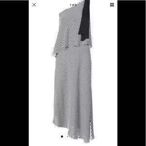 Halston Heritage One Shoulder Midi Dress